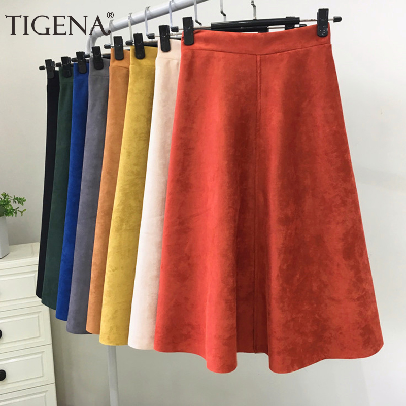 TIGENA Suede Midi Skirt Women Fashion 2019 Autumn Winter Korean Knee Length A-line High Waist Skirt Female Casual School