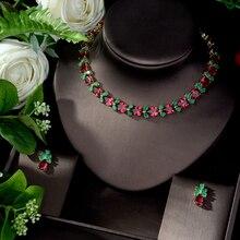 HIBRIDE Su Damlası Yeşil Kırmızı takı seti Kadınlar için Kübik Zirkon Nişan Küpe ve Kolye Seti parure bijoux N 1076