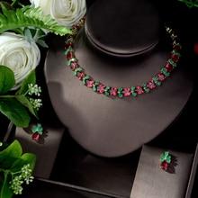 HIBRIDE Water Drop Green Red Jewelry Set for Women Wedding Cubic Zircon Engagement Earring and Necklace Set parure bijoux N 1076