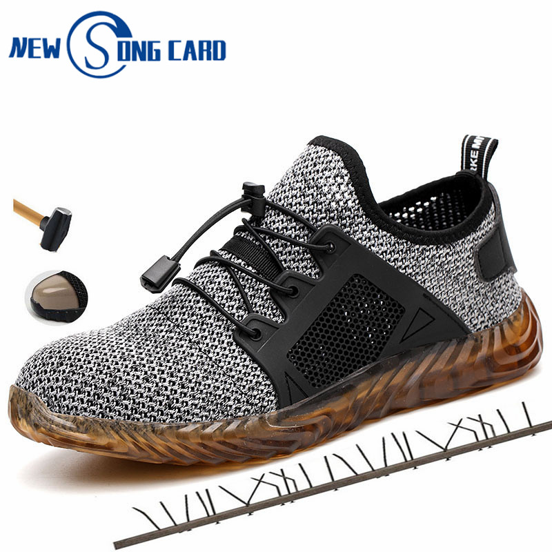 2019 New Breathable Mesh Safety Shoes New Song Card Men Light Sneaker Steel Toe Soft Anti-piercing Work Boots Plus Size 36-46