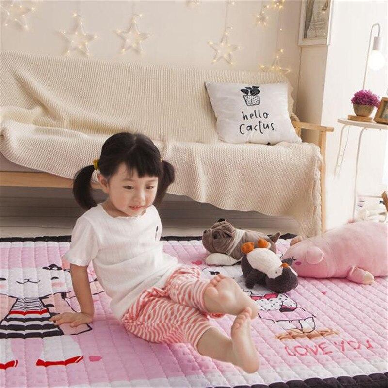 Tapis de jeu pour bébé tapis pour enfants tapis de ramper en coton tapis lavable antidérapant tapis de développement tapis souple pour enfant en bas âge jouets de couverture de jeu - 4