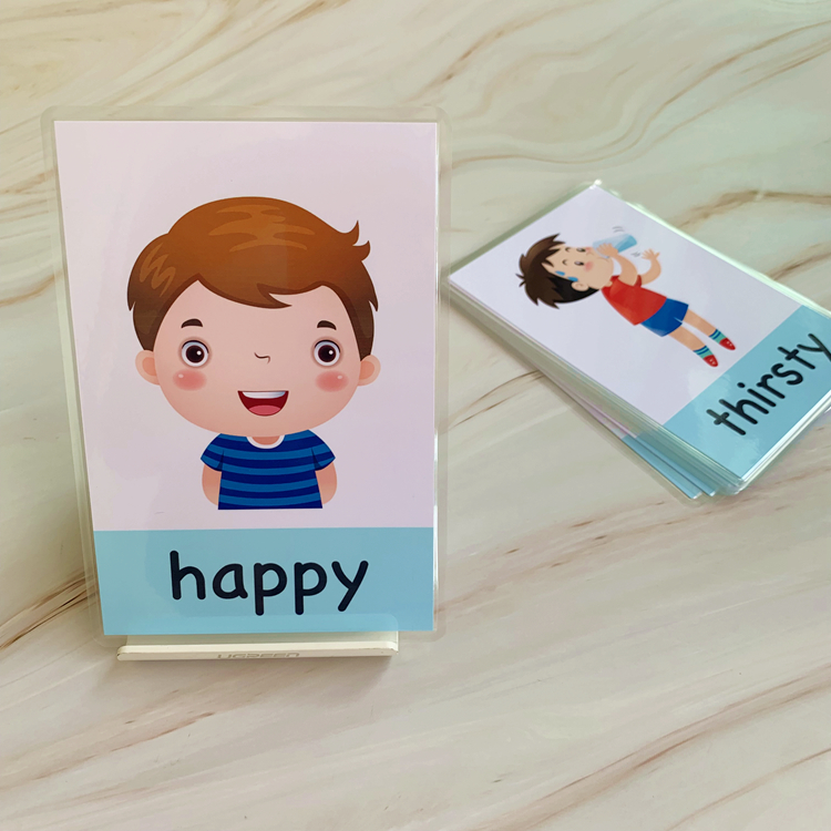 14 X Emotion Cards Kid/'s Cartoon English Learning Card Education Cards L7P5
