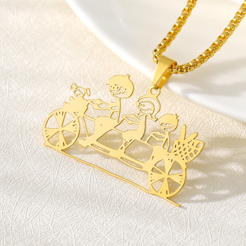 Rose Gold Silver Custom Drawing Necklace Kid's Art Artwork Personalized Long Chain Necklaces For Children Jewelry Christmas Gift