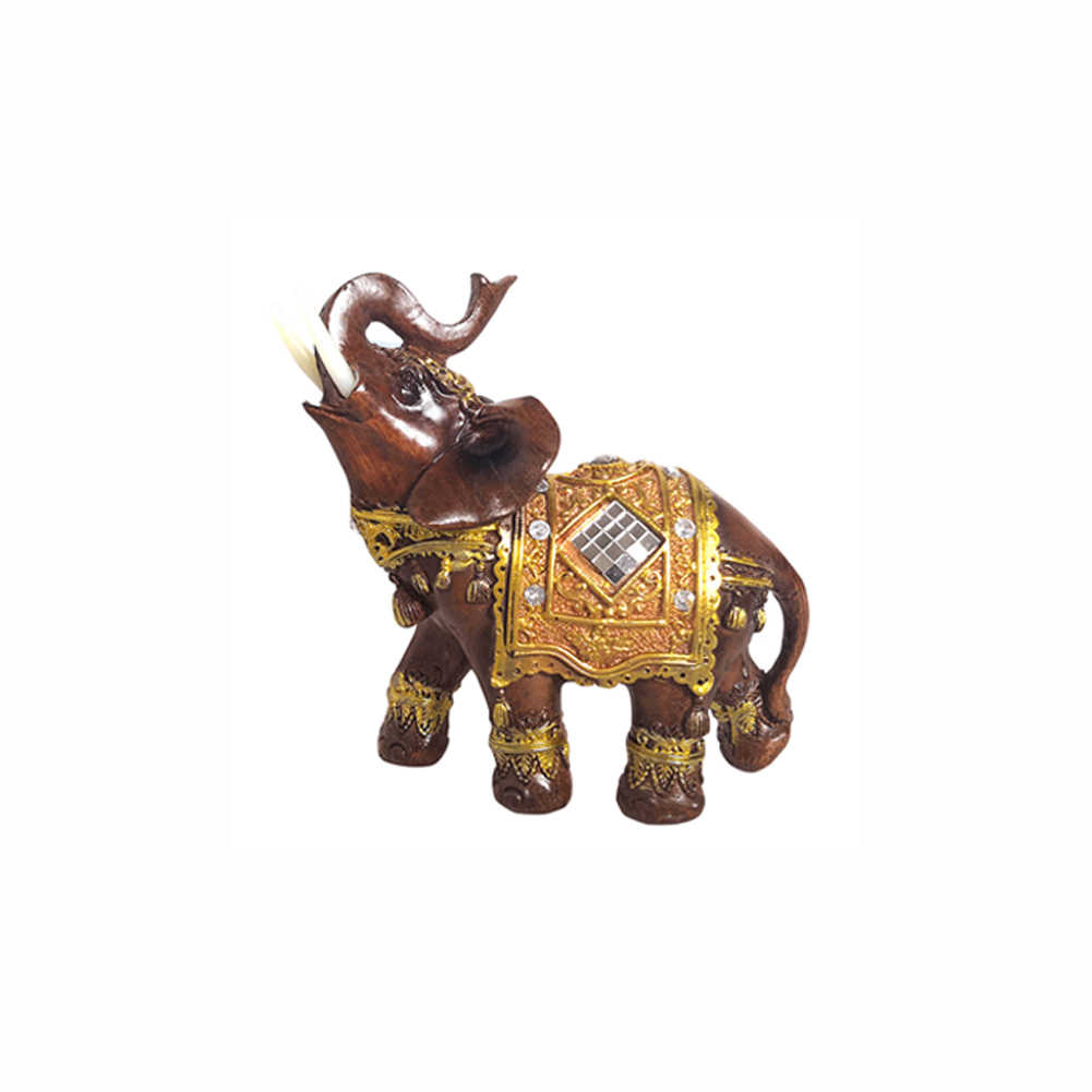 Прекрасные ярко-коричневые изделия из смолы фигурка богатство, удача Скульптура Подарок слон статуя украшение для дома резные офисные