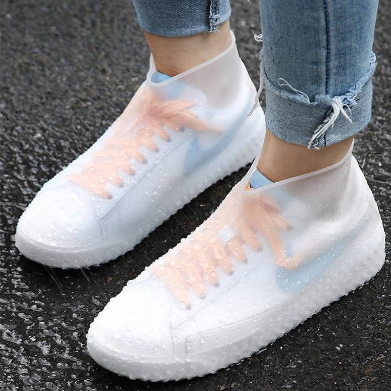 Rainproof Waterproof Reusable Rain Shoes Cover Men Women Non Slip Silicone Shoe Covers Elastic Slip On Large Size 30-44