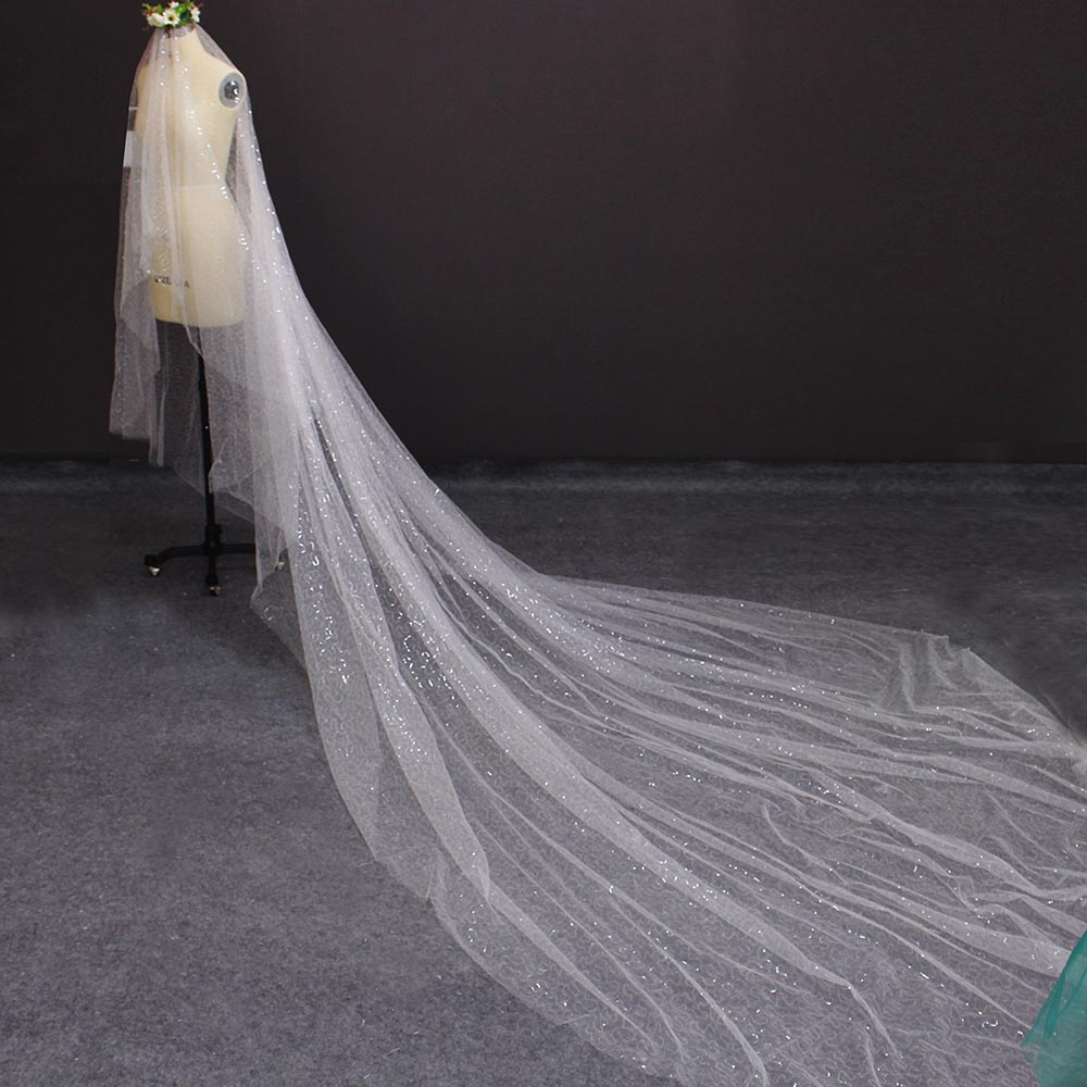 Bling Sequined Tulle Long Wedding Veil WITHOUT Comb 4 Meters Cover Face Bridal Veil Ivory Veil Wedding Accessories 2020