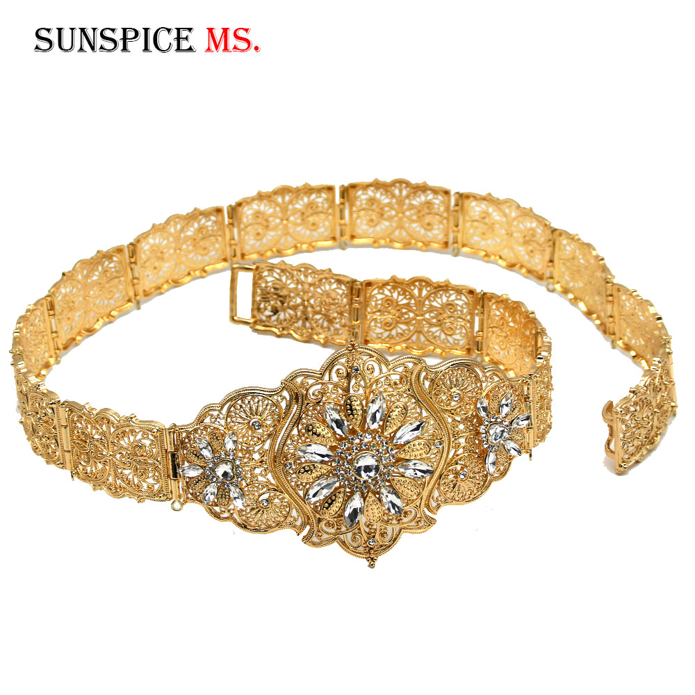 SUNSPICE-MS Caucasus Women Belt Full Rhinestone Ethnic Wedding Body Jewelry European Traditional Waist Chain Retro Gold Color