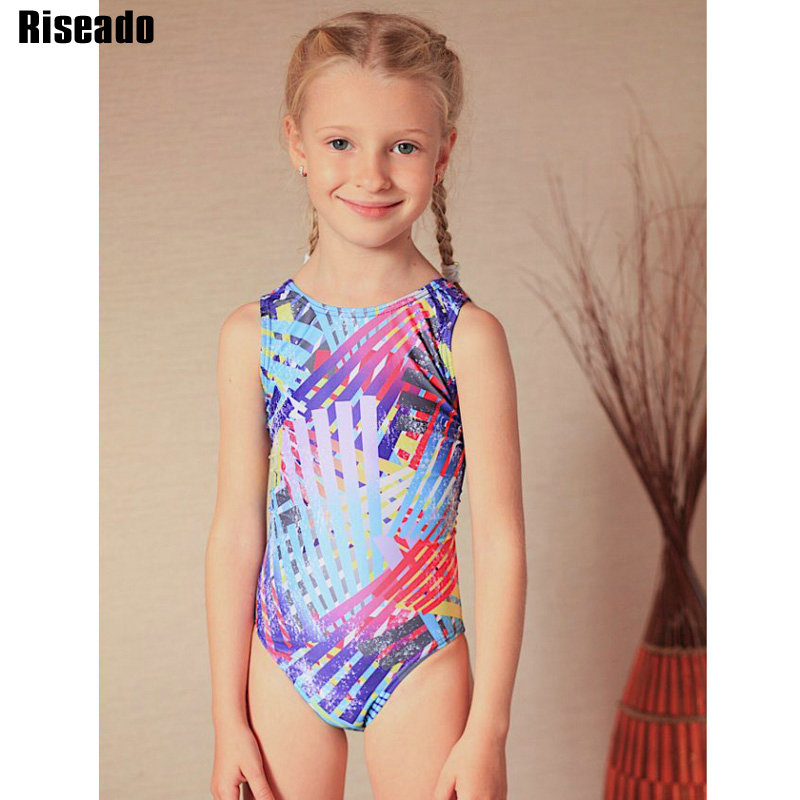 Riseado Sports One Piece Swimsuit Girls Children Swimwear Racer Back 2020 New Swimming Suits Digital Printing Swim Wear 8-12Y