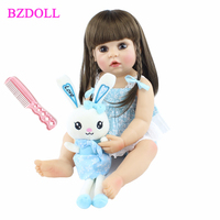55cm Full Silicone Body Reborn Baby Girl Doll Toy Vinyl Long Hair Princess Toddler Babies Child Cute Birthday Gift Bathe Toy