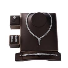 Conjunto de joyería de moda para mujer, Conjunto de collar, pendientes, anillo y pulsera de fiesta de boda, de HADIYANA, de circón CN1524, Conjunto de joyas