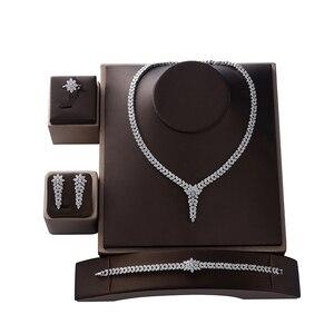 Image 1 - תכשיטי סט HADIYANA טרנדי נשים חתונה מסיבת Fahion שרשרת עגילי טבעת וצמיד סט זירקון CN1524 Conjunto דה joyas