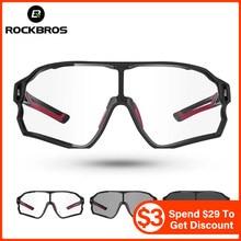 ROCKBROS bisiklet güneş gözlüğü fotokromik yol bisikleti UV400 bisiklet gözlük MTB dağ bisikleti bisiklet gözlük