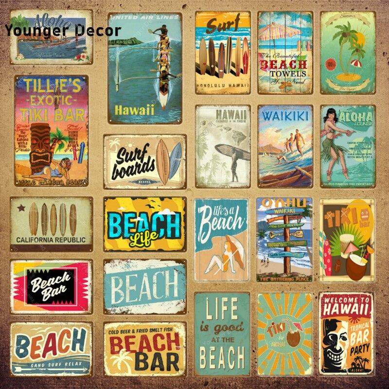 Surf Boards Tin Signs Vintage Beach Party Wall Plaque Hawaii Tiki Bar Decor House Seaside Decorative Plate Aloha Carft YI-110(China)