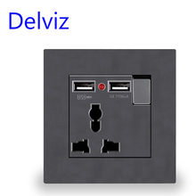 Delviz Wand Steckdose Universal 3 Loch, Dual USB Ladegerät Port, AC 110 ~ 250V 13A, led-anzeige, EU Standard USB Switched Outlet