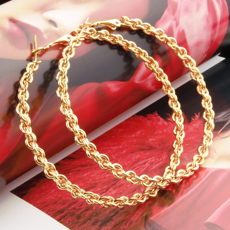 Large Big Round Hoop Earring For Women Gold Color Chain Clause Nice Shape Fashion  Gift Party Jewelry New 2021   E0106
