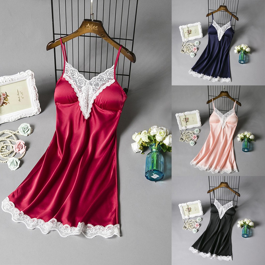 Sexy Satin Nightie Sleepwear Women Nightgown Ladies Night Dress V-Neck Nightwear Solid Nightdress Sexy Lingerie Lace Night Shirt