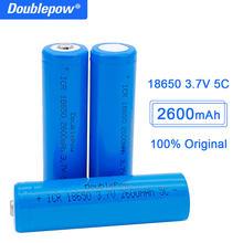 Аккумуляторная батарея Doublepow 18650, 3,7 в, 2600 мАч, 18650, перезаряжаемая литиевая батарея для фонариков