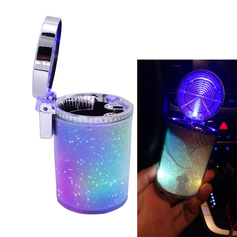 Creative Car Ashtray Car Colorful Light Hanging Ashtray Multi-function Car Ashtray With Cover #a