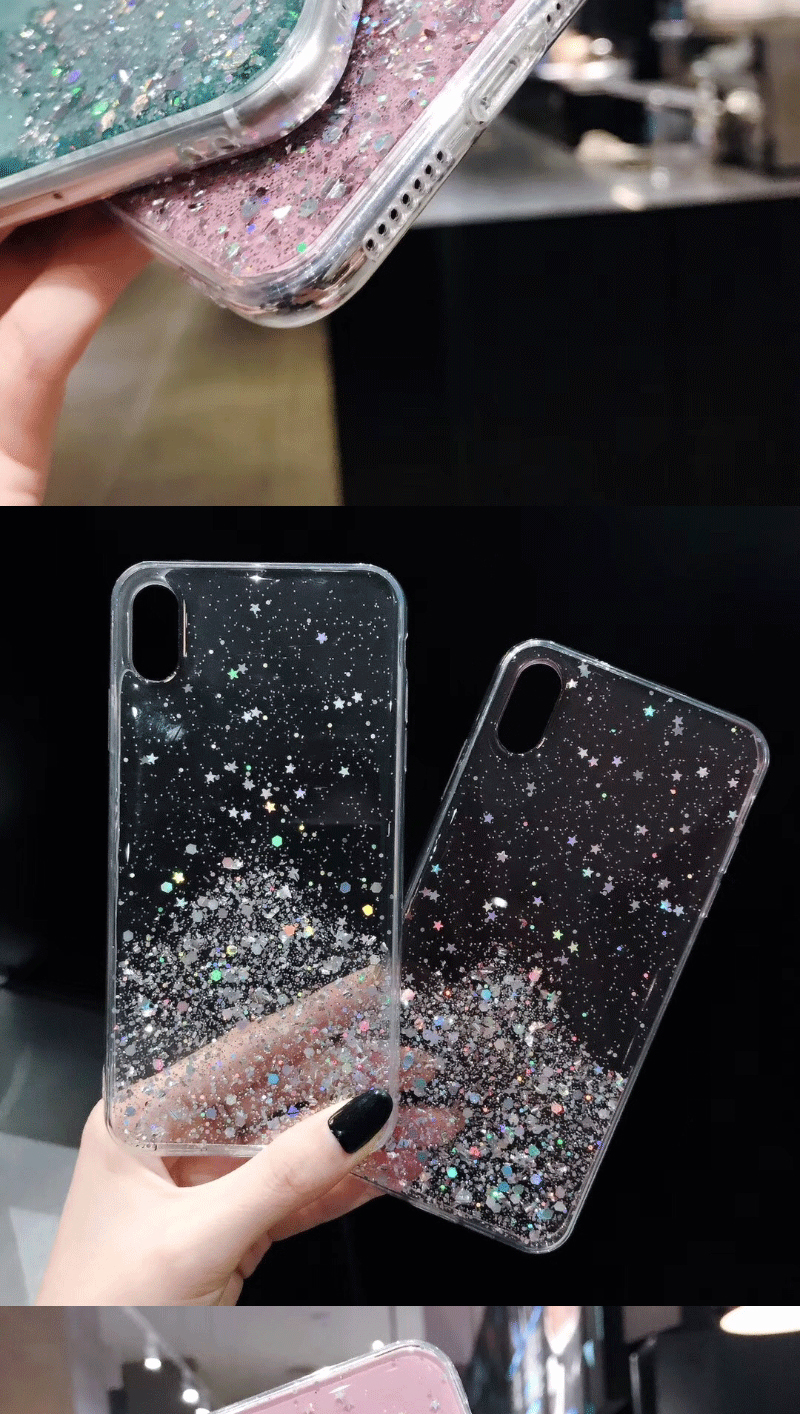 H5e1442772b834bd0bb525219a3f1a5f39 - Solid quicks Case For iphone 11 8 7 Plus 6 6s Glitter Bling Sequins Epoxy Star Case For iphone 11 Pro MAX X XR XS Soft TPU Cover