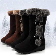 New Winter Women Boots Casual Warm Fur Mid-Calf Boots shoes Women Slip-On Round