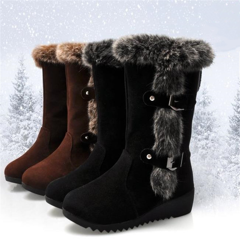 New Winter Women Boots Casual Warm Fur Mid Calf Boots shoes Women Slip On Round Toe wedges Snow Boots shoes Muje Plus size 42