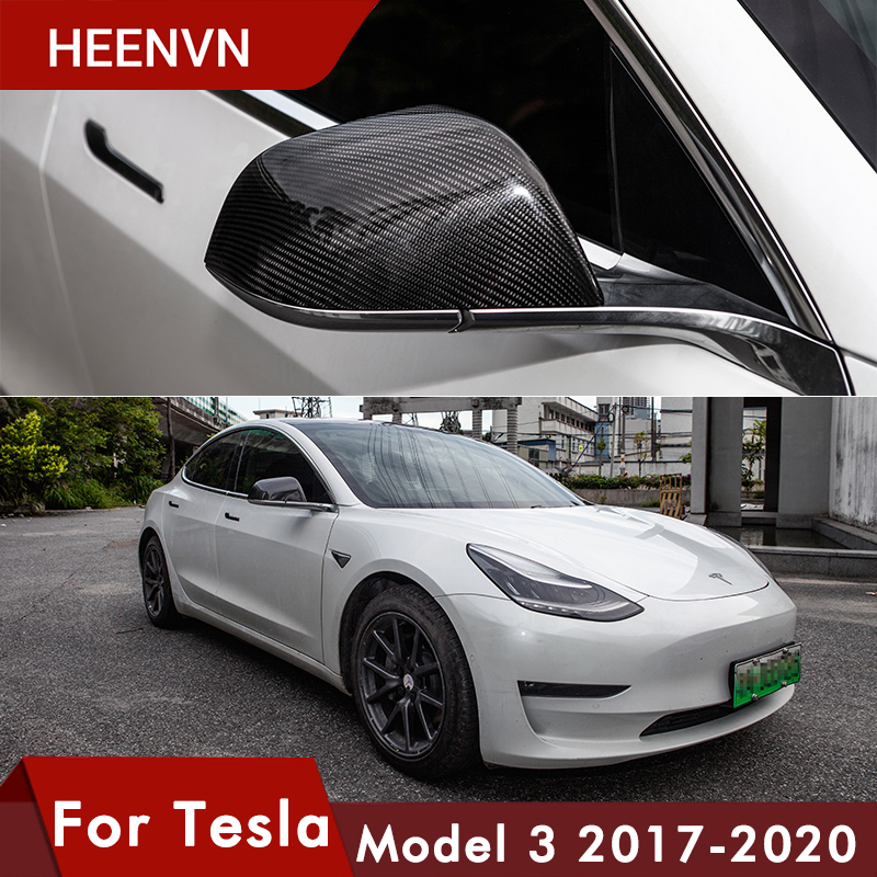 Heenvn Model3 Real Carbon Fiber Rear View Mirror Protective Cover For Tesla Model 3 Accessories Matte Carbon For Tesla Three Car