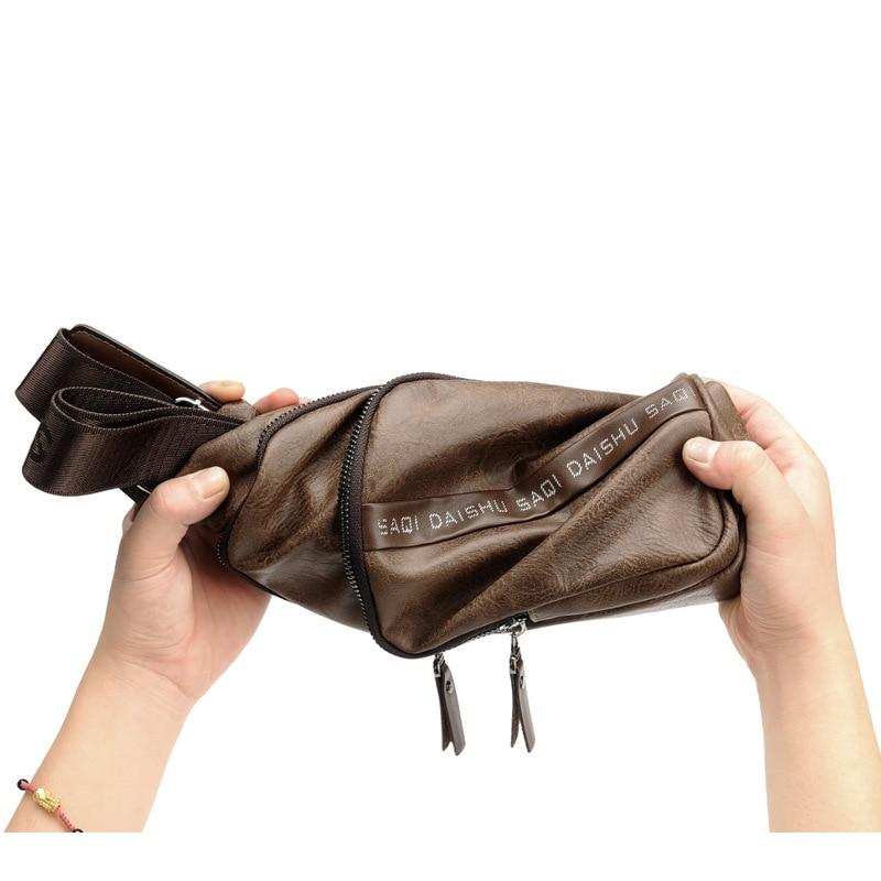 Pu Multi-functional Men's Shoulder Oblique Chest Bag Fashion Men's Versatile Outdoor Casual Sports Chest Pack