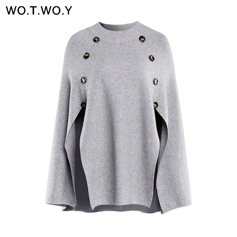WOTWOY, Вязаный плащ, свитер для женщин, Повседневная Свободная шаль, осень зима, уличная одежда, пончо, женский свитер и пуловеры размера плюс - Цвет: C906Gray