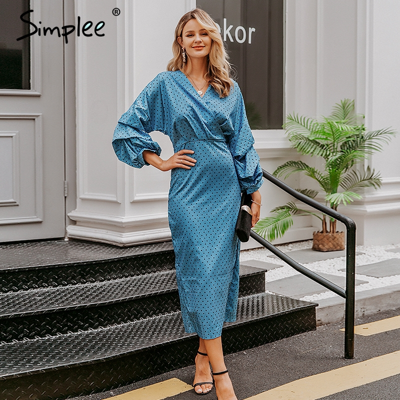 Image 2 - Simplee Elegant v neck women dress Polka dot lantern sleeve female plus size evening party dress Autumn slim lady vintage dressDresses   -