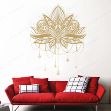 Vinyl Mandala Lotus Flower wall sticker Self Adhesive Art Bedroom Living Room Vinio Mural Yoga Studio Meditation Poster HD269