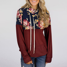Womens Turtleneck Tops Floral Print Shirts Tunic Long Sleeve Pullover Sweatshirt  7.26