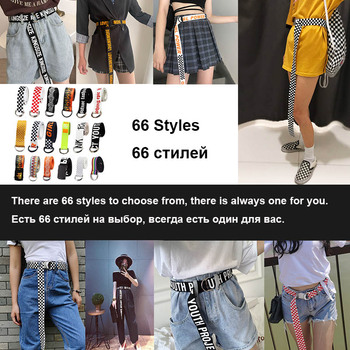 66 Styles Casual Canvas Unisex Belt Women Men Letter Printed Long Waist Strap Black White Harajuku Trouser Female Teenager Belts
