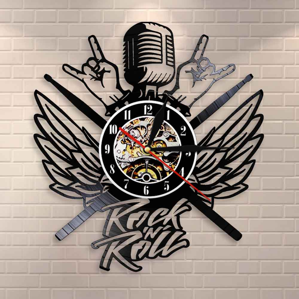 In Metal We Trust Music Quote Rock Hand Wall Clock Rock And Roll Heavy Metal Music Vinyl Record Wall Clock Nice Gift For Music L