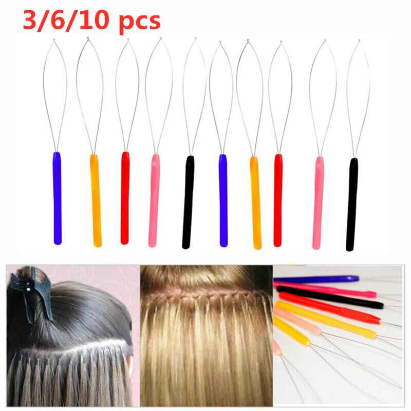 3/6/10Pcs Stainless Steel Hair Extension Tool Hair Styling Accessory Hook Needle Micro Ring Pulling Hoop Loop Feather Threader