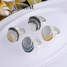 MeiceM 2021 Geometric Circle Alloy Adjustable Ring Girls Creative Design Finger Rings for Women Fashion Jewelry Holiday Gift