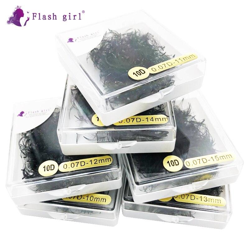 Flash girl макияж короткий стебель готовые вееры 1000 веера в одной коробке 10D 0,07 C D частная этикетка Россия объемные ресницы
