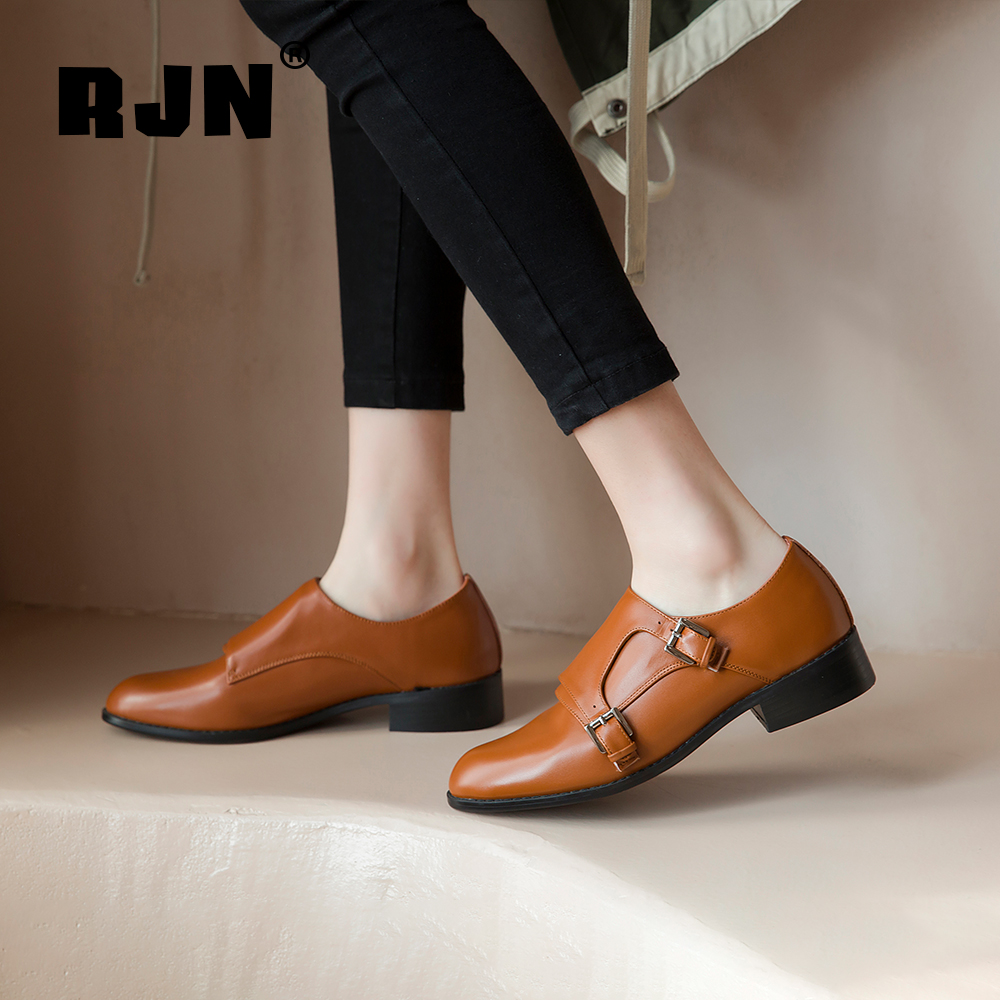 Promo RJN Cow Leather Pumps Stylish Buckle Straps Decoration Solid Comfortable Round Toe Square Heel Slip-On Women Pumps For Job RO26