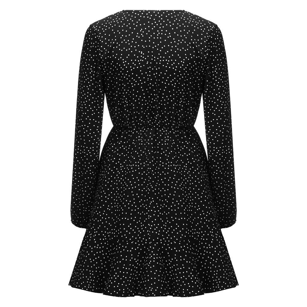 Women V neck Sexy Polka Dot Black Mini Dress Vintage Autumn Winter Women Long Sleeve Wrap Sress Elegant Party Dresses Ladies