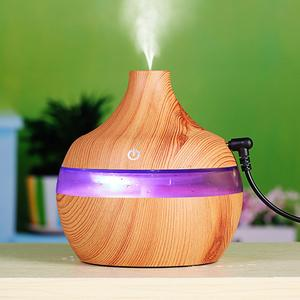 Home Office 300ml USB Electric Aroma Air diffuser wood grain Ultrasonic air humidifier cool mist maker with 7 colors lights