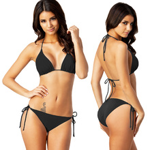Bikini negro clásico más caliente conjunto de Bikini de talla grande sólido XXL trajes de baño almohadilla extraíble traje de baño de mujer completamente forrado