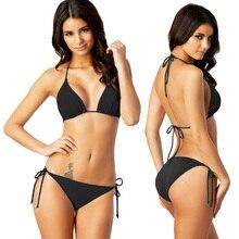Najgorętszy klasyczny czarny Bikini Solid Plus rozmiar Bikini Set XXL kostiumy kąpielowe wyjmowana podkładka w pełni pokryte stroje kąpielowe damskie