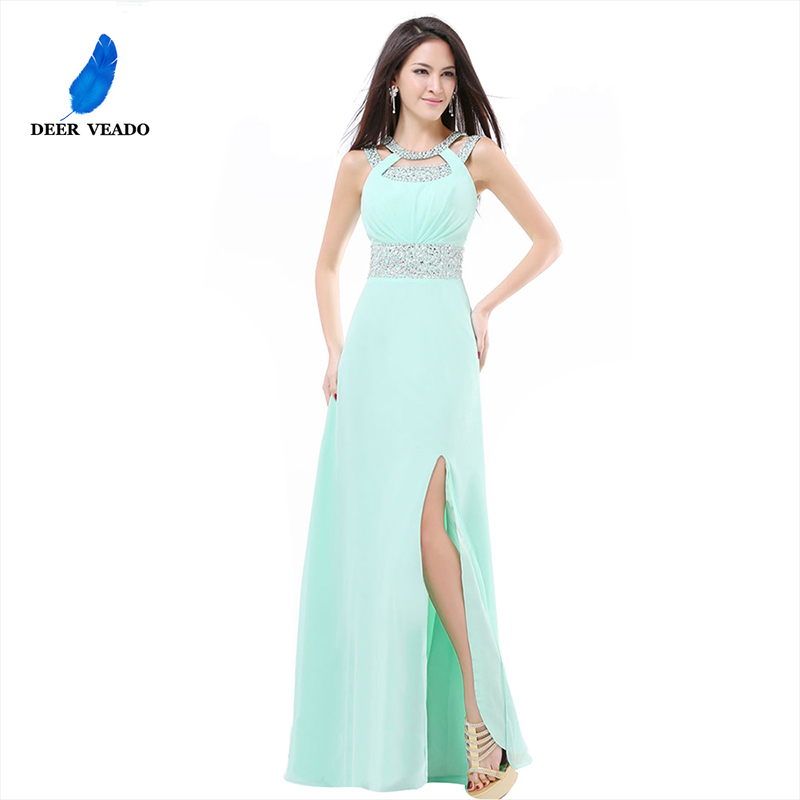 US $49.99 37% OFF|DEERVEADO 2019 New Design Side Split Plus Size Long Mint  Green Cheap Bridesmaid Dresses Under $50 Long Party Dress S322C-in ...