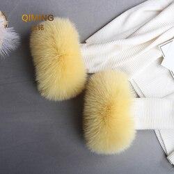 Real de piel de zorro esposas para las mujeres de invierno de moda negro de piel de mapache brazalete de pulsera de señora de pulsera blanco negro brazo calentadores mangas