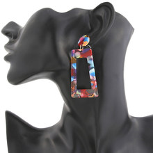 Fashion Leopard Print Multi-Color Acrylic Acetic Acid Drop Earrings for Women 2019 Resin Large Square Earrings Geometric Pendant(China)