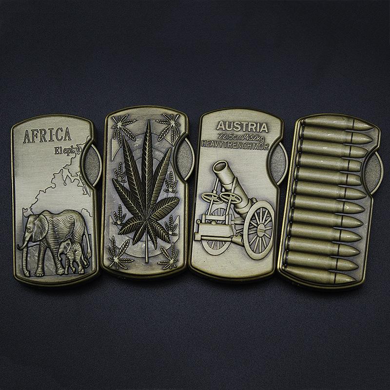 Винтаж Бронзовый зажигалка с рельефным рисунком металлический