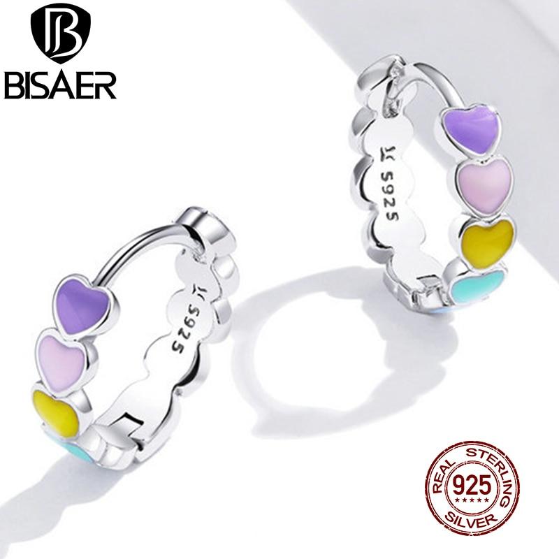 BISAER Rainbow Heart Hoop Earrings Real 925 Sterling Silver Colorful Enamel Round Earrings For Women Wedding Jewelry ECE909