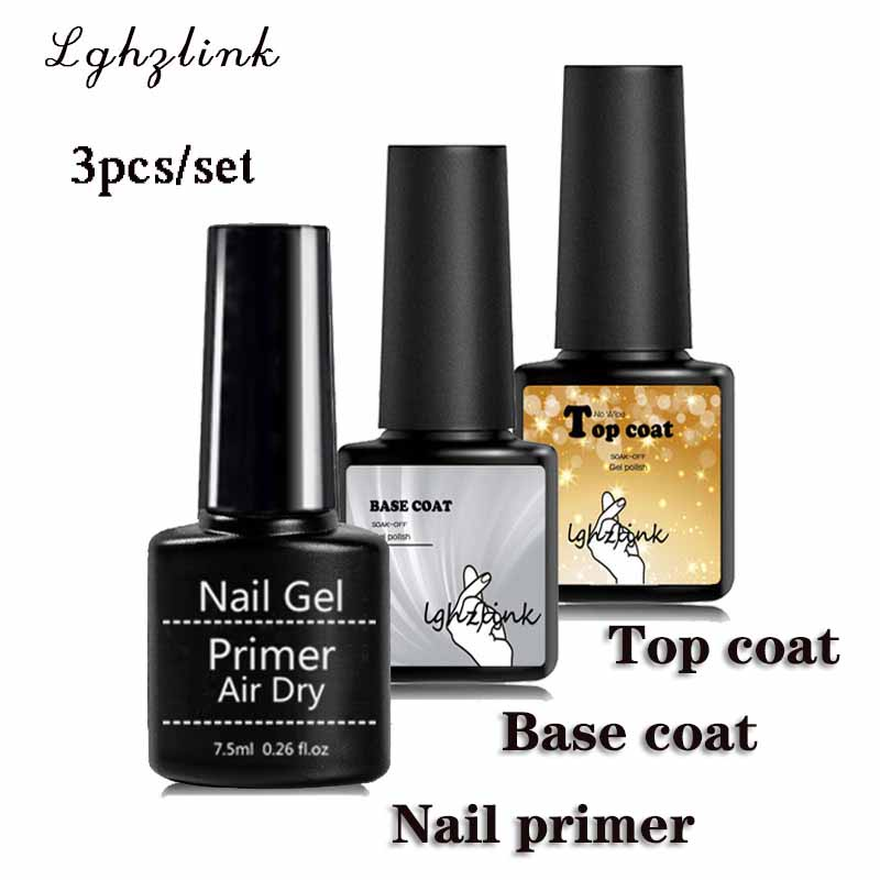 3pcs/set Nail Primer Top Coat and Base Coat For Nail Vernis Semi permanant UV LED Lamp Fast Air Dry Soak Off Gel Polish Lacquer(China)