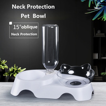 2 In 1 Cat Ears Shaped Oblique Bowl Pet Double Bowls Drinking Fountain Leak Proof Neck Protection Food Supplie