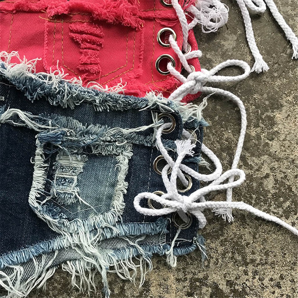 H5e15a5d2b68a41e9909c092c9d2867ado 2019 womens skinny jeans Sexy high quality straight leg casual Bandage Button Denim Jeans Shorts Mini Hot Pants Elastic 19JUL26