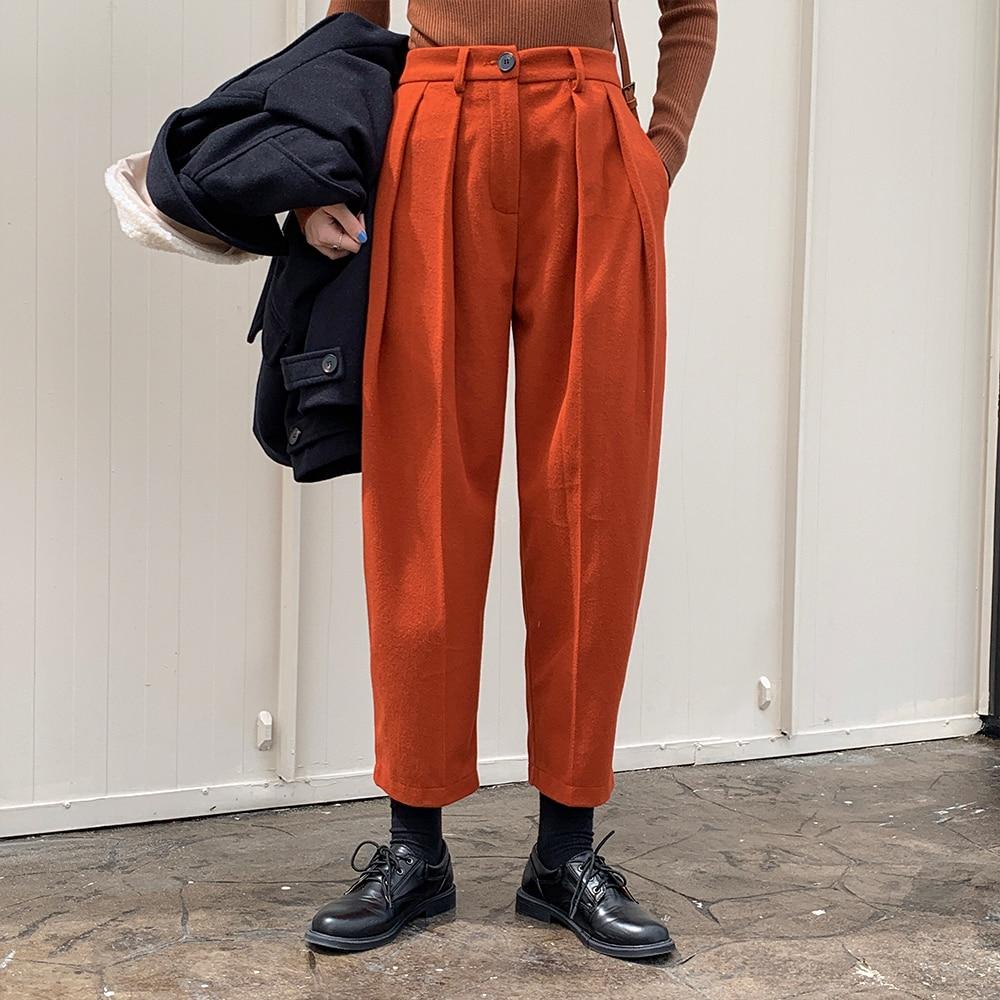 HziriP Winter Thick Women Radish Pants OL Formal Plus Size Woolen Pants Female Autumn High Waist Loose Harem Trousers 5 Colors